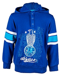 Nauti Nati Full Sleeves Printed Blue Hooded Sweatshirt - Athletic print