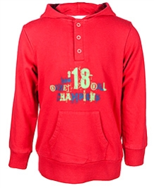 Nauti Nati Red Full Sleeves Message Print Hooded Sweatshirt
