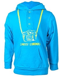 Nauti Nati Blue Full Sleeves Hooded Sweatshirt - Front Placket