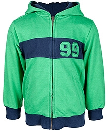 Nauti Nati Green Full Sleeves Hooded Jacket 5 Years, Bright coloured Single jersey cotton with fleece effect jacket