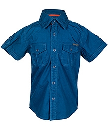 Nauti Nati Blue Half Sleeves Shirt - Dual Front Pockets