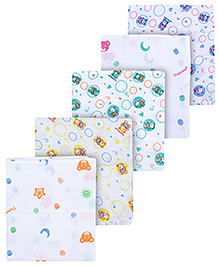 Tinycare White Multi Print Square Baby Nappy Small - Pack Of 5