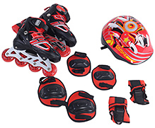 Fab N Funky Red Inline Skates Set