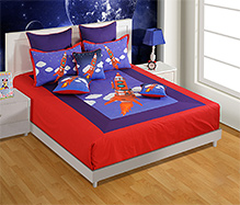 Swayam Rocket Print Blue Double Bed Sheet And 2 Pillow Covers - Digital Print - Bed Sheet 229 X 274 Cm