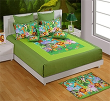 Swayam Green Animal Print Double Bed Sheet And 2 Pillow Cover Set - Digital Print