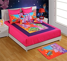 Swayam Pink Super Girl Print Double Bed Sheet And 2 Pillow Cover - Digital Print