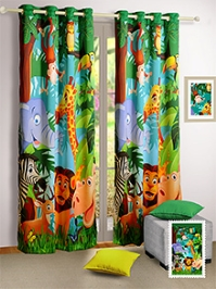 Swayam Digital Jungle Print Kids Window Curtain With Eyelit - 48 x 60 Inches