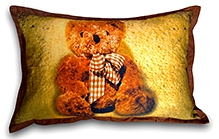 Swayam Teddy Bear Digital Print Golden Pillow Cover - 45 X 70 Cm - 1 Piece