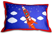 Swayam Rocket Digital Print Blue Pillow Cover - 45 X 70 Cm