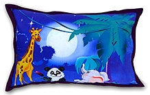 Swayam Jungle Digital Print Blue Kids Pillow Cover - 45 X 70 Cm - 1 Piece