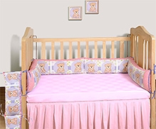Swayam Digital Teddy Bear Print Cot Bumper Large Standard Size - 10 X 160 Inches