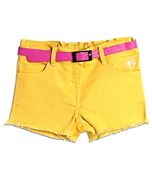 Barbie Yellow Raw Edged Denim Shorts