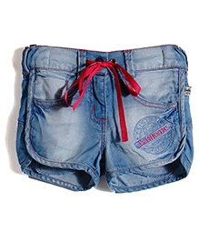 Barbie Blue Fray Edged Denim Shorts - 5 To 6 Years