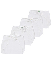 Babyhug Tie Up Style Nappy Small White - Set of 4