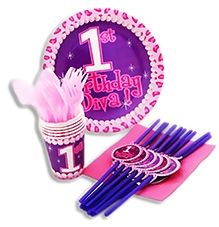 Party Anthem First  Birthday Diva Kit - 80 Pieces