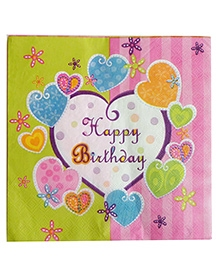 Party Anthem Happy Birthday Green And Pink Paper Napkins - Pack Of 20