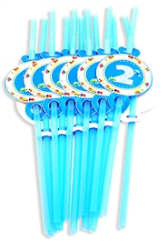 Party Anthem Blue Second Birthday Straw - Pack Of 12