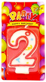 Party Anthem White Number Candle - Number 2