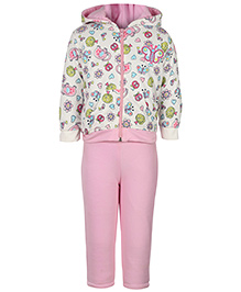 Kids R Us Full sleeves Hooded Pink T-Shirt And Legging Set