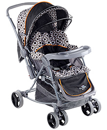 Grey With Oraneg Lining 0 Months +, 3 Reclining Position, Safe And Sturdy Stroller For Your...