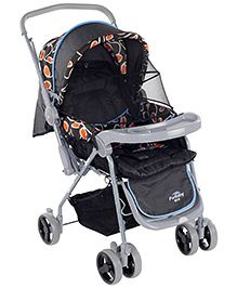 Fab N Funky Grey Baby Pram With Mosquito Net Black 0 Months +, 3 Reclining Position, Safe And Sturdy Stroller For Your...