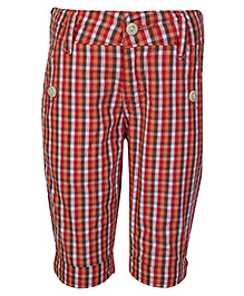 Gini & Jony Fixed Waist Capri - Checks Print