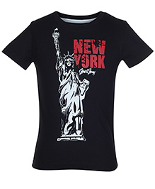 Gini & Jony Black Half Sleeves T Shirt - Statue Of Liberty Print