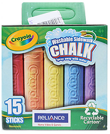 Crayola Washable Sidewalk Chalk - 15 Pieces