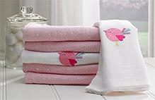 Lollipop Lane Pink Bird Muslin Squares - Set of 6
