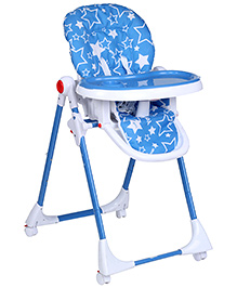 Fab N Funky Star Print Blue High Chair With Wheels -  82 x 56 x 102 cm