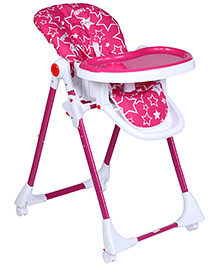 Fab N Funky Star Print Pink High Chair With Wheels -  82 x 56 x 102 cm