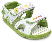 Tweety Green Striped Sandal - Back Velcro Strap
