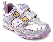 Tweety Purple Flower Print Dual Velcro Strap Sports Shoes