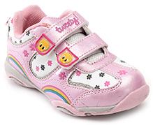 Tweety Pink Flower Print Dual Velcro Strap Sports Shoes