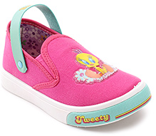 Tweety Pink Canvas Slip On Shoes - Tweety Patch