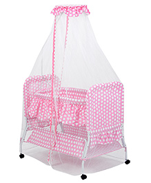 Fab N Funky Polka Dot Printed Baby Cradle with Mosquito Net
