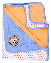 1st Step Dots Print Blue Hooded Wrapper - 92 x 74 Cm