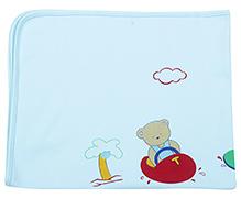 Child World Teddy Print Blue Baby Blanket - 90 x 77 Cm