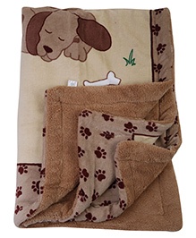Mee Mee Dog Print Brown Blanket - 127 x 94 cm