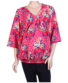 W Long Sleeves Floral Printed Tunic - Pink
