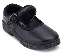 Action Black School Time Uniform Shoes - Buckle Strap