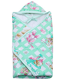 Tinycare Green Teddy Print Hooded Baby Wrapper - 68 x 68 cm