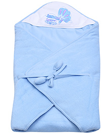 Tinycare Hooded Towel Butterfly Print - Blue