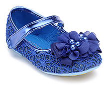 Doink Blue Party Ballerina Shoes - Flower Applique With Pearls