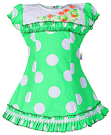 SAPS Green Short Sleeves Polka Dots Print Aline Frock - Flower Embroidery