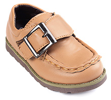 Cute Walk Light Brown Party Leather Shoes - Buckle Strap