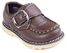 Cute Walk Dark Brown Party Leather Shoes - Buckle Strap