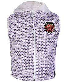 Babyhug Light Purple Sleeveless Printed Hooded Jacket - Dual Slant Pocket - 6 to 9 Months