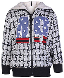 SAPS Grey Full Sleeves Checked Hooded Jacket - 49 Patch Work - Size 7
