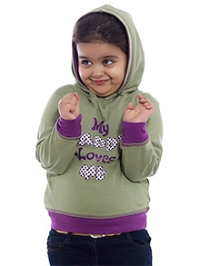 Nino Bambino Dull Green Full Sleeves Hooded Sweatshirt - Message Print